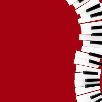 Primo piano della tastiera di piano su una priorità bassa rossa. rendering 3d