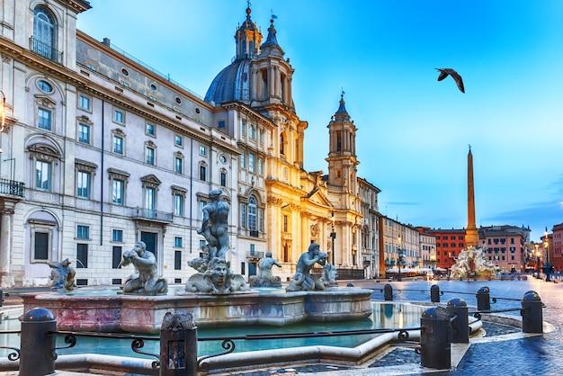 Piazza navona a roma, vista fontana del moro.