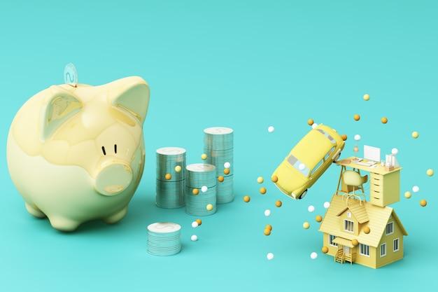Picky bank and coin, per investire denaro, idee per risparmiare denaro per un uso futuro. con tavolo da lavoro, auto e casa. rendering 3d