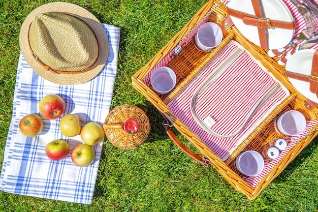 Concetto di picnic con il canestro su prato inglese soleggiato verde nel parco