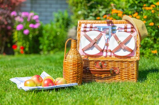 Insieme di picnic del cestino dell'alimento su prato inglese fresco verde nel parco