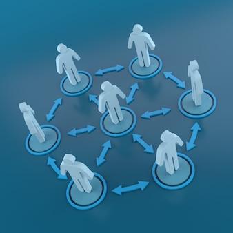 Pittogramma persone connessioni di rete. rendering 3d
