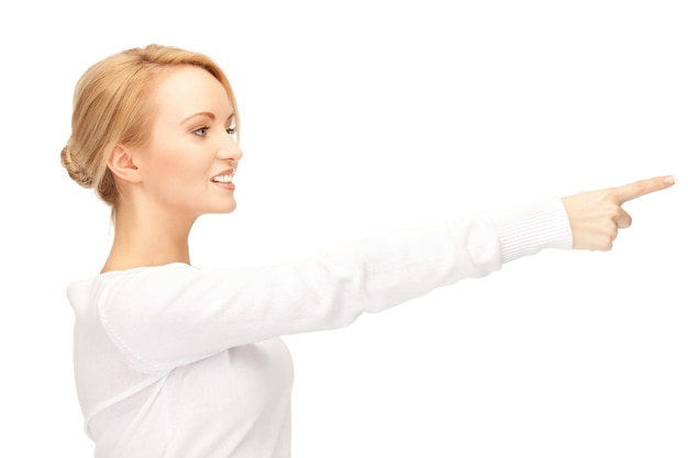 Foto di una donna d'affari attraente che punta il dito...