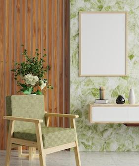 Cornice su una parete in marmo verde e bianco con vasi vuoti sul mobile tv e sulla poltrona