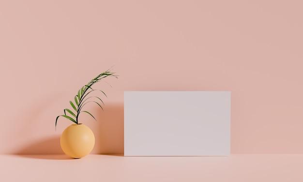 Cornice per foto in una stanza in stile minimal, chiaramente stanza, rendering di illustrazioni 3d Foto Premium