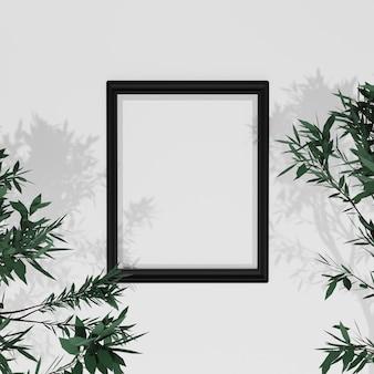 Mockup di cornice con foglie sul muro bianco, rendering 3d