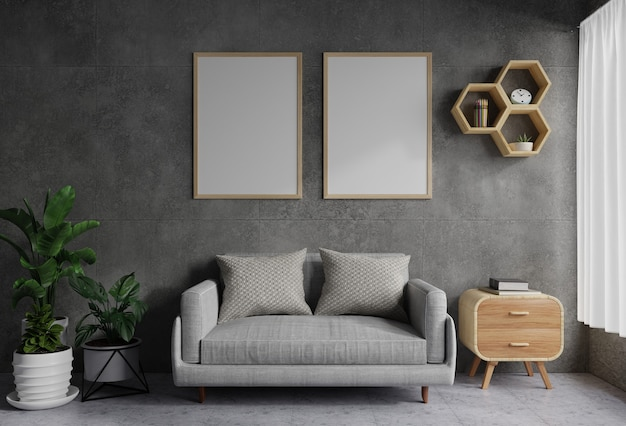 Cornici su un muro di cemento nel soggiorno decorato con un divano e vasi per piante