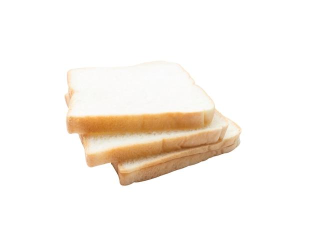 Foto di fette di pane bianco delizioso morbido e appiccicoso per la colazione su bianco isolato