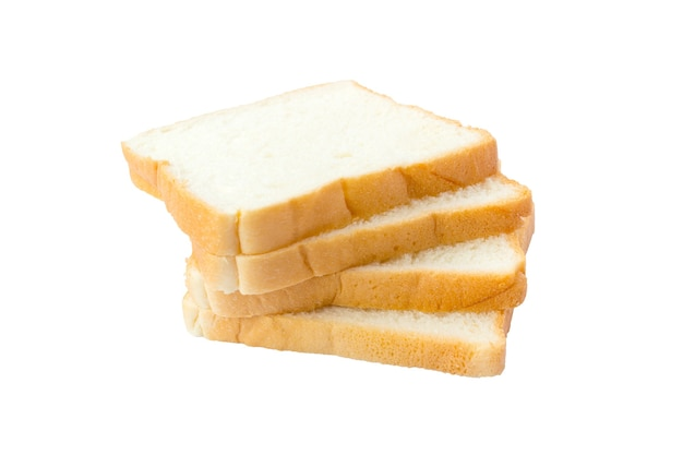 Immagine di pane bianco morbido affettato su sfondo bianco isolato