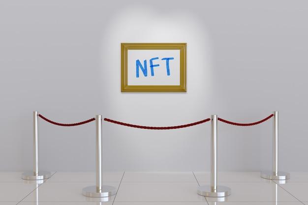 Foto con il testo ntf sul muro di un museo.