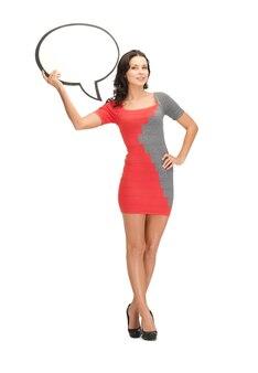 Foto di una donna con una bolla di testo vuota