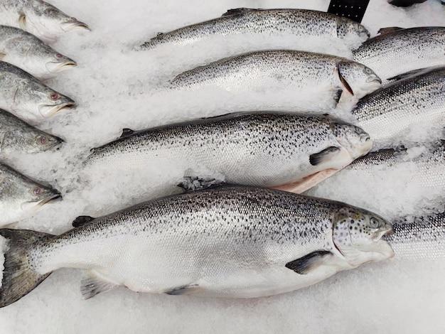 Immagini di cibo fresco e frutti di mare in un supermercato