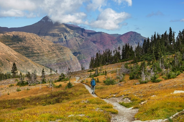 Pittoresche vette rocciose del glacier national park, montana, usa