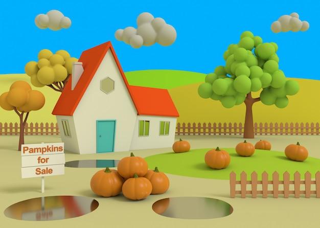 Pittoresco paesaggio rurale con raccolto in stile cartone animato. 3d-rendering. casa nel campo di zucche sullo sfondo dei priori autunnali.