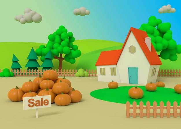 Paesaggio rurale pittoresco con il raccolto nello stile del fumetto, rappresentazione 3d