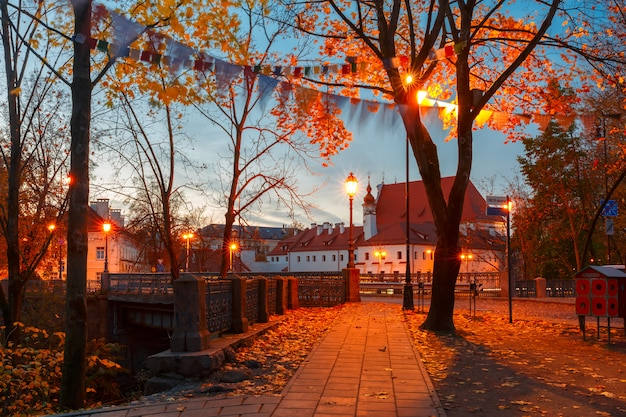 Pittoresca strada di notte, vilnius, lituania