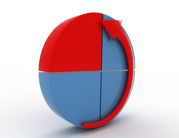 Grafico aziendale a torta con freccia ciclata