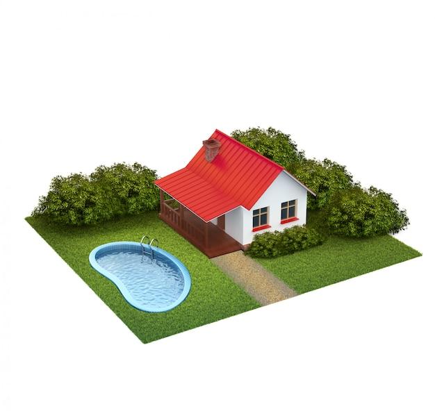 Un pezzo di terra con prato con casa, cespugli e piscina