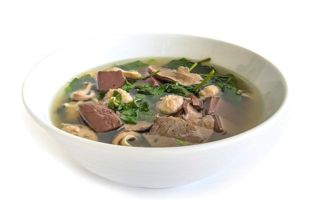 Zuppa di purè di sangue di maiale (tom lued moo) gelatina di sangue stile thai