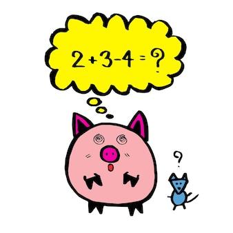 Un maiale sta calcolando, imparando la matematica, il personaggio dei fumetti disegna a mano dei cartoni animati