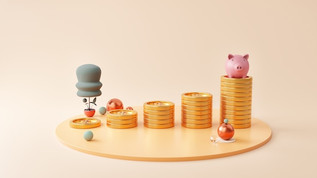 Salvadanaio e monete pila su sfondo rosa