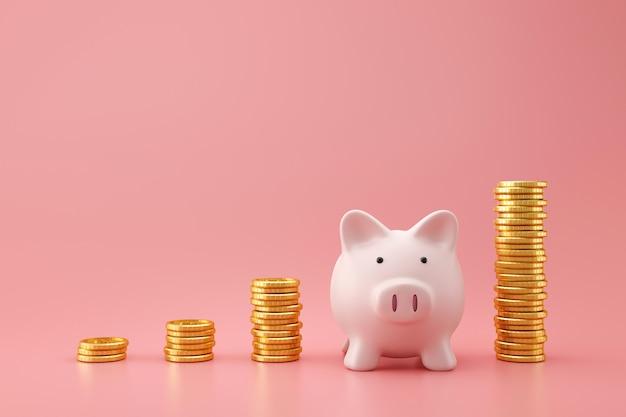 Porcellino salvadanaio e monete dorate della pila del grafico crescente sulla parete rosa con il concetto dei soldi di risparmio. pianificazione finanziaria per il futuro. rendering 3d.