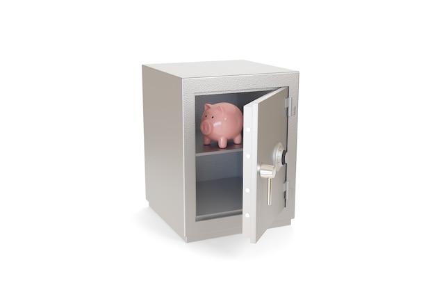 Salvadanaio all'interno di una cassetta di sicurezza isolata su una superficie bianca.