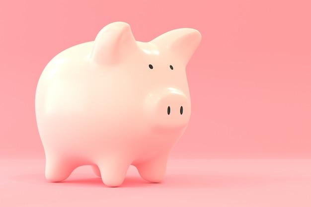 Porcellino salvadanaio su colore rosa, risparmiando concetto dei soldi con la rappresentazione 3d