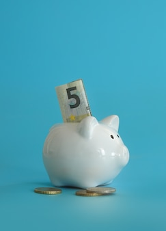 Salvadanaio per risparmiare denaro. ricchezza, budget, investimenti, concetto di finanza. salvadanaio, salvadanaio sullo sfondo blu.