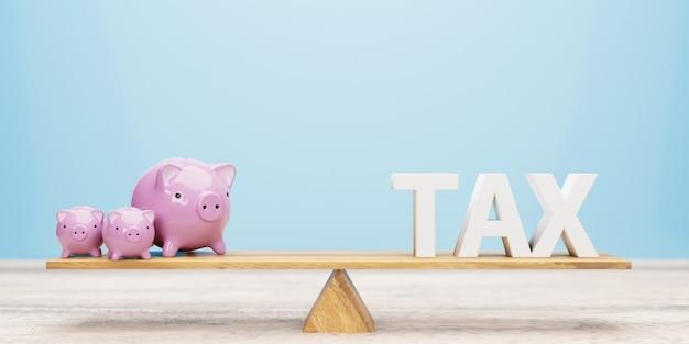Salvadanaio e lettera fiscale sull'altalena. illustrazione 3d