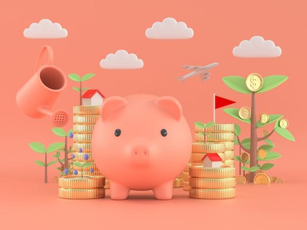 Reddito passivo della pianta della moneta dell'albero e del porcellino salvadanaio concetto finanziario dei soldi di libertà.