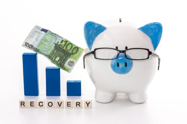 Salvadanaio con gli occhiali con il modello grafico blu e il messaggio di recupero