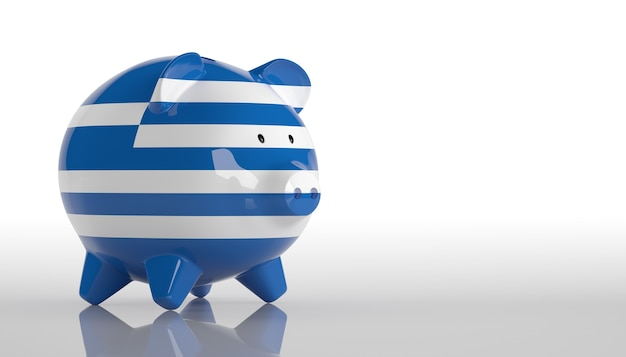 Salvadanaio con bandiera della grecia. rendering 3d