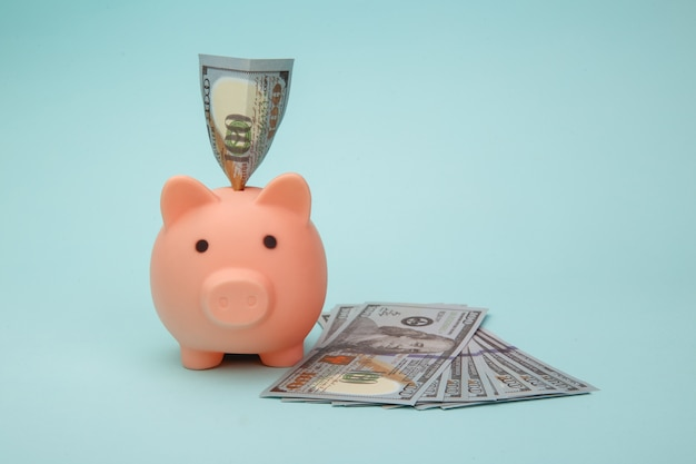 Salvadanaio con banconote di soldi sull'azzurro
