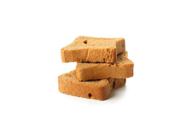 Pila di pezzi di pane isolati su sfondo bianco Foto Premium