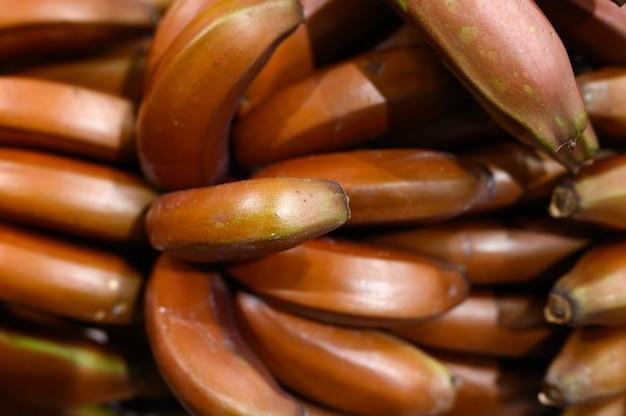 Un mucchio delle banane marroni di frutti come fondo
