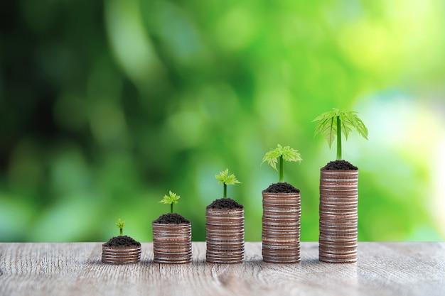 Pila di monete sono impilate in una forma di grafico con alberi che crescono.