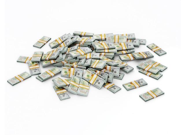 Mucchio di fasci di dollari