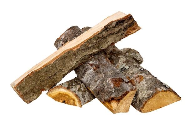 Catasta di legna da ardere isolato su bianco