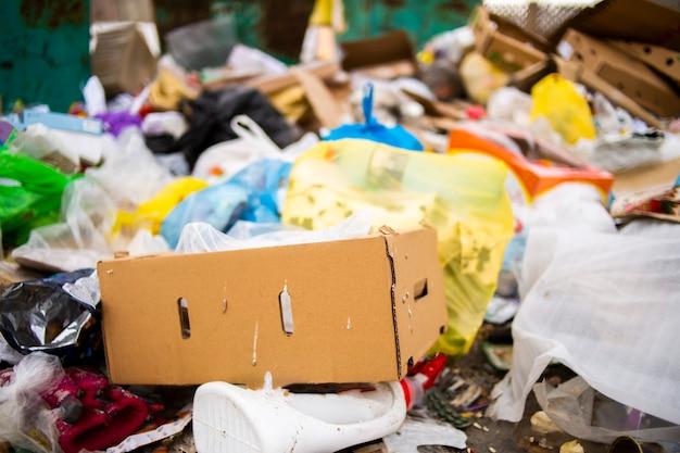 Un mucchio di immondizia in una discarica e un'abbondanza di rifiuti, immondizia e inquinamento di bottiglie e sacchetti di plastica sul terreno, riciclaggio dei rifiuti e pericolo di avvelenamento ambientale tossico