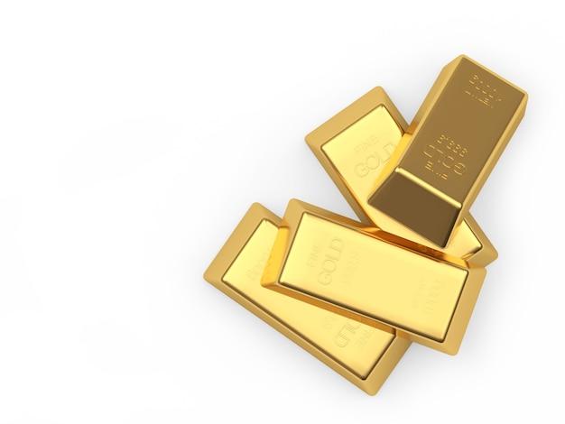 Un mucchio di lingotti d'oro isolato su bianco. illustrazione 3d