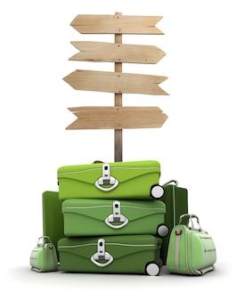 Pila di bagagli da un cartello in legno