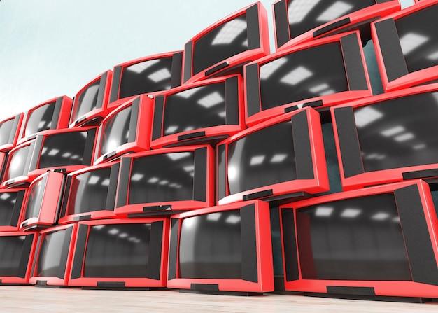 Pila di vecchi ricevitori televisivi retrò, 3d
