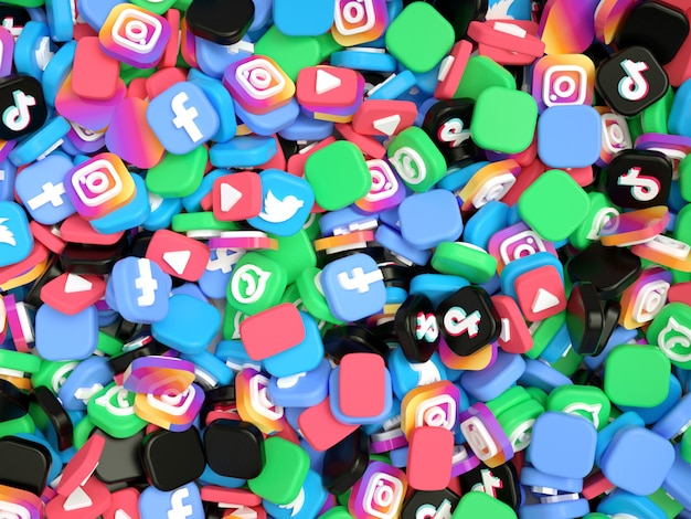 Pila di loghi dei social media