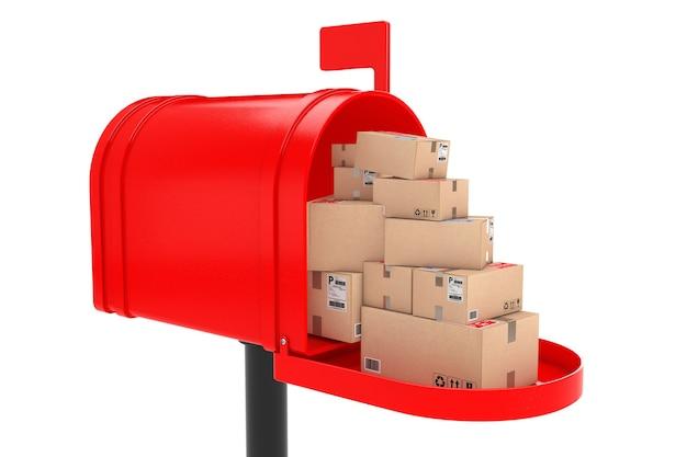 Pila di scatole di cartone impilate pacchi nella cassetta postale rossa su sfondo bianco. rendering 3d