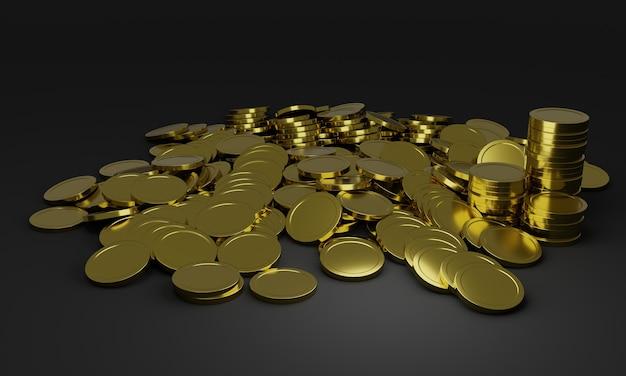 Mucchi di monete d'oro lucide.