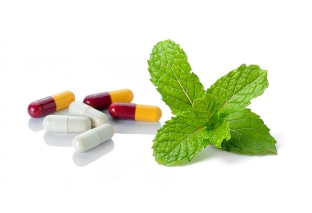 Pillola e menta isolate su spazio bianco