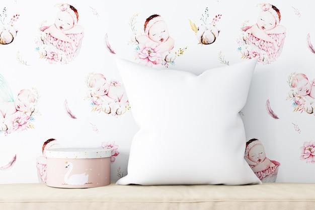 Mockup di cuscino rosa baby