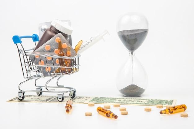 Pillole, fiale e siringhe per iniezione, dollari di denaro e clessidra su uno sfondo bianco. affari e medicina.