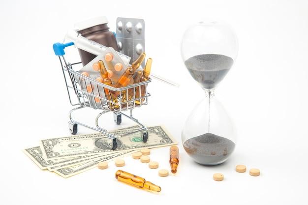 Pillole, fiale e siringhe per iniezione, dollari di denaro e clessidra su uno sfondo bianco.